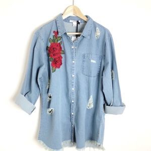 Glamorous Distressed Embroidered Denim Shirt 14W